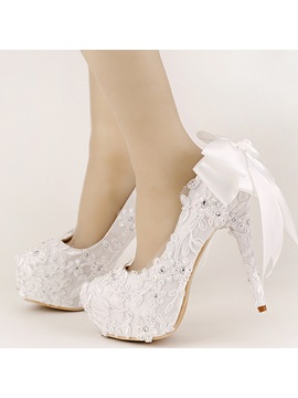 Lace Appliques Bowtie Rhinestone Stiletto Heel Wedding Shoes