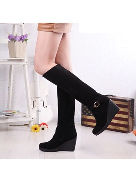 Pu Side Zipper Wedge Heel Womens Knee High Boots