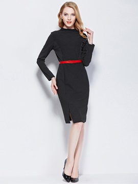 Stand Collar Vertical Striped Split Bodycon Dress
