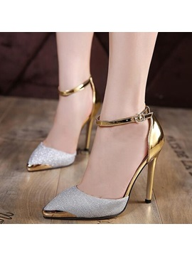 Pu Line Style Buckle Stiletto Heel Classic Pumps