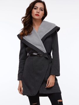 Stylish Notched Lapel Mid Length Overcoat