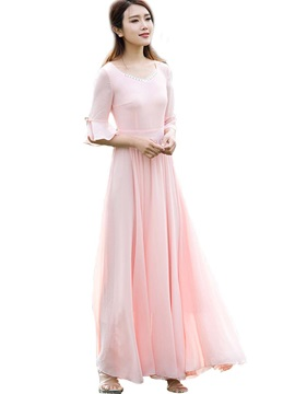 V Neck Ruffle Sleeves Patchwork Maxi Dress