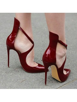 Burgundy Cross Wrap Pointed Toe Stiletto Heel Court Shoes