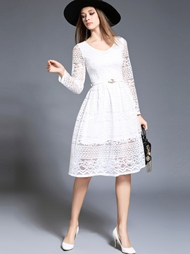 V Neck Hollow Expansion Lace Dress