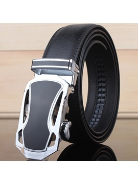 Automatic Buckle Hollow Design Leather Mens Belt