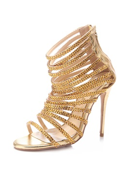 Rhinestone Open Toe High Cut Upper Sandals