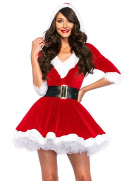 V Neck Falbala Santa Cosplay Christmas Costume