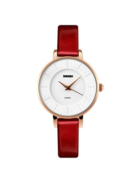 Simple Ultra Thin Design Red Womens Watch