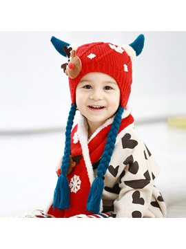 Winter Snowflake Embellished Warm Kids Hat Scarf