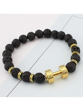 Lava Rock Black Beads Bracelet