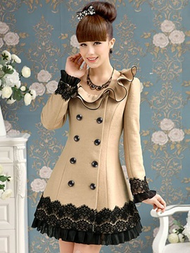 Stylish Lace Ruffled Collar Overcoat