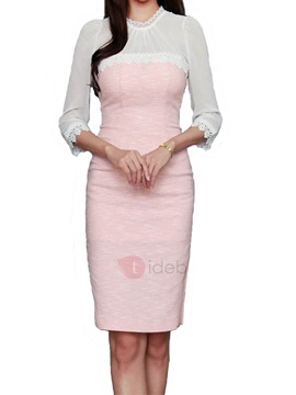 Stand Collar Patchwork Womens Bodycon Dress