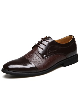Embossed Leather Lace Up Mens Dress Shoes