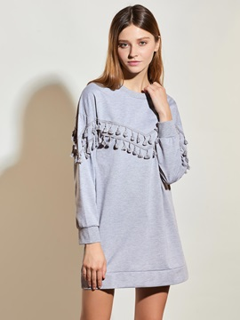 Stylish Drop Shoulder Tassel T Shirt