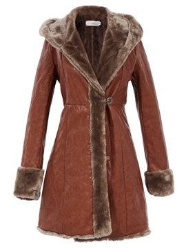 Stylish Slim Faux Fur Collar Mid Length Overcoat
