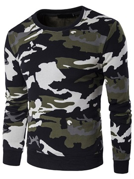 Camouflage Round Neck Mens Casual Hoodie