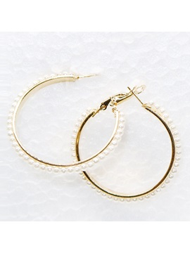 Circle Alloy Beaded E Plating Hoop Earrings