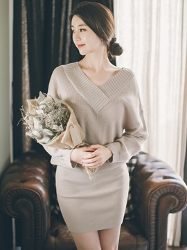 Casual Plain V Neck Sweater Dress