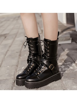 Pu Side Zipper Cross Strap Platform Womens Ankle Boots