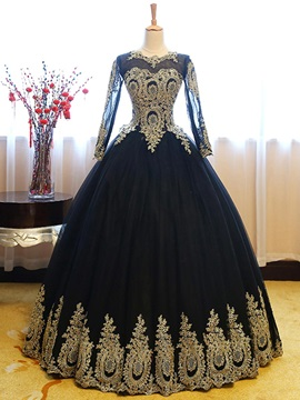 Vintage Scoop Ball Gown Long Sleeves Appliques Floor Length Quinceanera Dress