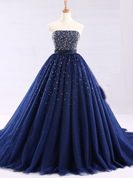 Attractive Strapless Ball Gown Beaded Floor Length Quinceanera Dress