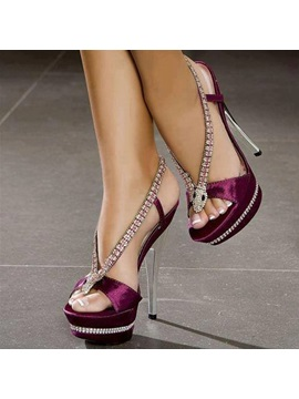 Pu Slip On High Heel Rhinestone Womens Sandals