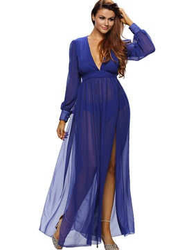 V Neck Asymmetric Empire Waist Maxi Dress