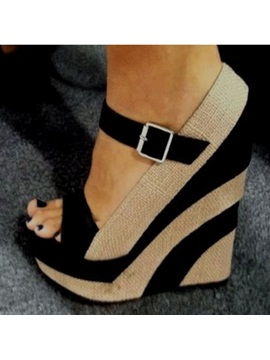 Wedge Heel Open Toe Buckle Womens Wedge Sandals