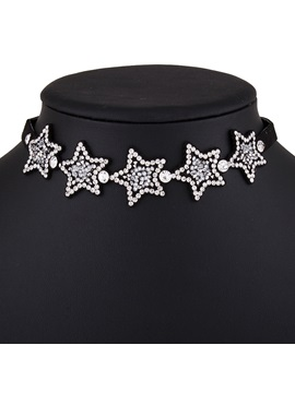 Rhinestone Stars Design Velvet Choker Necklace