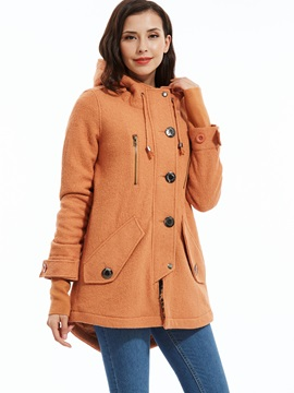 Stylish Single Breasted Hooded Overcoat