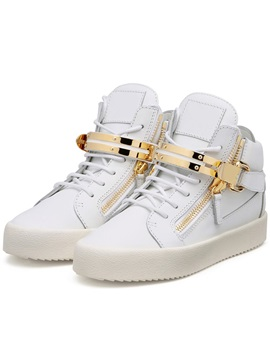 Pu Velcro White Round Toe High Cut Upper Mens Sneakers