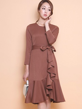 Plain Round Neck Falbala Day Dress