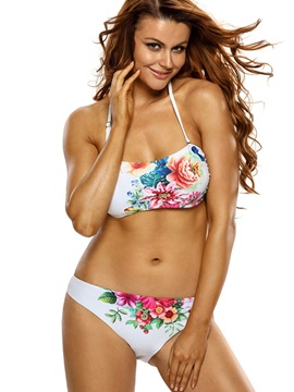 Exquisite Flower Pattern Halter Bikini