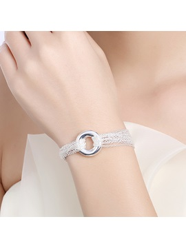 Circle Design Silver Chain Womens Bracelet
