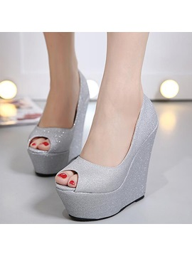 Pu Slip On Platform Wedge Heel Womens Shoes