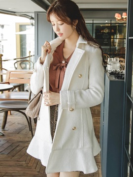Stylish Frill Hemline Slim Overcoat