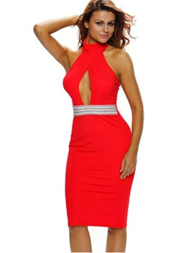 Halter Backless Turtleneck Bodycon Dress