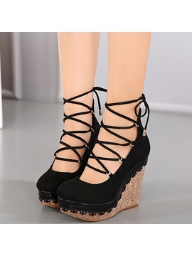 Pu Lace Up Platform Womens Wedge Sandals