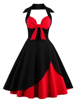 Halter Backless Bowknot Skater Dress