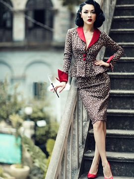 V Neck Long Sleeve Leopard Grain Womens Skirt Suit