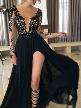 A Line V Neck Split Front Lace Evening Dress