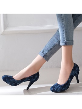 Denim Slip On Thread High Heel Womens Pumps
