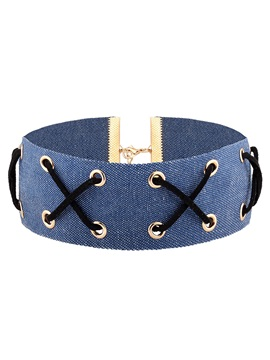 Gothic Blue Jeans Choker Necklace