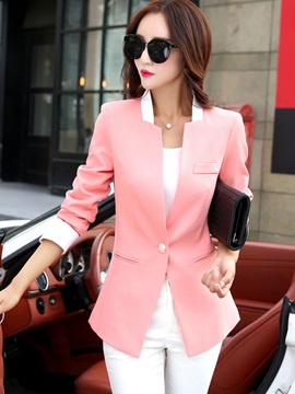 Stylish Color Block Single Button Slim Blazer