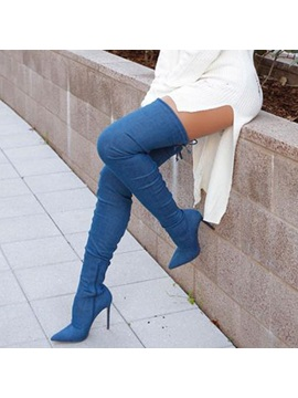 Denim Dark Blue Pointed Toe Stiletto Heel Over The Knee Boots