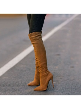 Brown Side Zipper Stiletto Heel Knee High Stiletto Boots