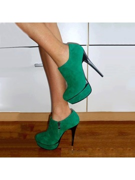 Suede Emerald Green Platform Stiletto Heel Womens Boots