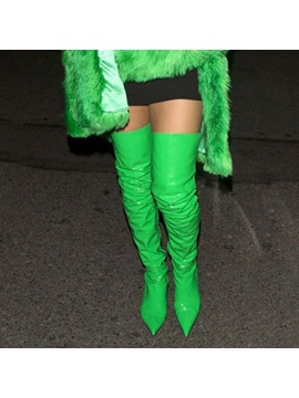 Emerald Green Pointed Toe Contrast Color Kitten Heel Over The Knee Boots