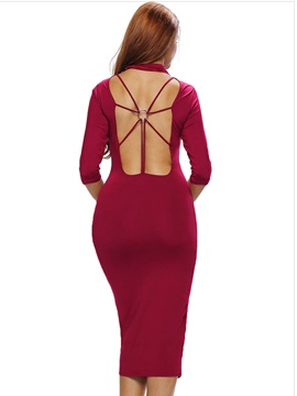 Solid Color Backless Turtleneck Bodycon Dress