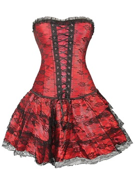 Color Block Cross Lace Up Falbala Corset Plus Size Available